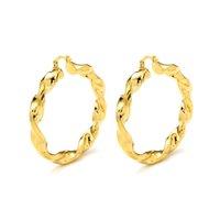Trendy Hoop Earrings Women 24K Yellow Solid Gold GF jewelry Arab Middle Eastern Africa Indian Brazilian Dubai Jewellery Twisted 40MM Big Chunky Thick