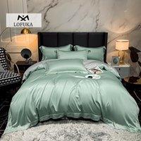 Lofuka الفاخرة الأخضر رمادي أعلى درجة 100٪ الحرير مجموعة مفروشات الجمال حاف الغطاء وسادة ملكة الملك ورقة مسطحة أو مجموعات المجهزة