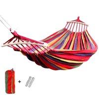 Muebles de campamento 190x150cm Hamaca colgante con barra de esparcidor doble / soltero adulto fuerte silla sillista silla de viaje camping cama para dormir al aire libre