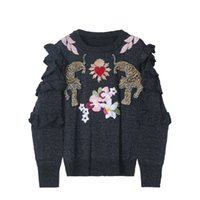 1021 2021 Milan Style Autumn Brand Same Style Sweater Pink Black Embroidery Striped Pullover Print Regular Long Sleeve Women Clothes yuecheng