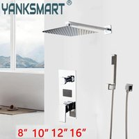Chrome Luxury Bathroom Wall Mounted Shower Set Grifo Lavabo Rainfall Head With Hand Valve Display Screen Mixer Tap Sets