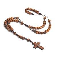 Cuentas de pino natural Collar de cruz hecho a mano Rosario Católico Joyería