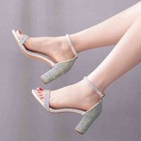 Sandals Wedding crystal slippers, thick stilettos seven inches ankle high for girls, birthday party shoes and prom Y88S