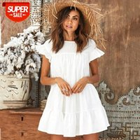 Rahat Yaz Mini Elbiseler Katı Sarı Beyaz Kırmızı Fırfır Kısa Kollu Plaj Kadınlar Için Gevşek Pileli Elbise Lady Sundress # IB7A
