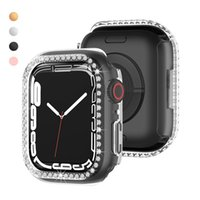 Fashion Women Rhinestone PC Bumper for Apple Watch Case Series 7 Two-color Cover for Iwatch 41mm 45mm Frame