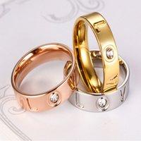 Amantes de aço inoxidável anel de diamante amor romance jóias de alta qualidade moda simples galvanflating polimento presentes