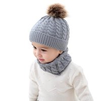 0-36 Months Baby Fashion Interlaced Knit Beanie And Ring Scarf Set Lovely Kids Twist Solid Warm Hats Infinite Scarves