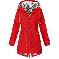 Women's Jackets S-5XL Windbreaker Coat Women Rain Jacket Outdoor Waterproof Hooded Raincoat Spring Autumn Solid Basic Plus Size