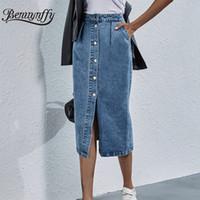 Benuynffy 싱글 브레스트 무릎 길이 데님 여성 가스트웨어 캐주얼 포켓 높은 허리 스트레이트 청바지 치마