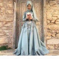 Neue romantische muslimische Abendkleider Naher Osten Langarm Lace Dubai Vestidos de Festa Party Kleid Prom offizielle Pageant Celebrity Gowns EA1
