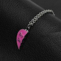 3 teilesatz Emaille gebrochenes Herz große Mutter lil Freunde Schwestern Stapel Schmuck für Frauen Kinder DC8TE Anhänger Halsketten Lakgb 829 T2
