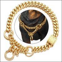 Halsbänder Leashes Pet Supplies Startseite GARDENNIKET Gold Farbe Hund Martingale Kragen Metallkette Choke mit Design Sichere Schnalle, 18k Kubanische Linie