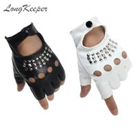 Five fingers gloves mitten cycling Fashion Half Women Pu Leather Fingerless Sound Nails Dancing Guante For Men Black White Luvas 0910