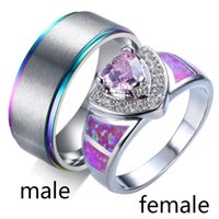 Wedding Rings Couple Opal White Gold Filled Pink Princess Cut Zircon Womens Band 8mm Stainless Steel Mens Engagement Ring