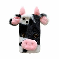 3D Cow Fluffy Hair Plush Cases For iPhone 13 Mini Pro Max 12 11 XR XS X 8 7 6 Plus Rabbit Genuine Fur Fuzzy Girl Lady Soft TPU Animal Ear Cute Lovely Mobile Phone Covers Skin