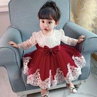 Girl's Dresses Born Long Sleeve Baby Girl Lace Party Wedding Big Bow 1st Birthday Princess Baptism Dress