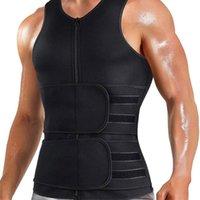 Men's Body Shapers Men Shaper Sauna Vest Waist Trainer Double Belt Sweat Shirt Corset Top Abdomen Slimming Shapewear Fat Burn Fitness Tops