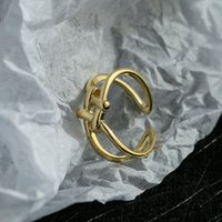70% OFF Luxury Jewelry ins irregular fashion smooth female student jewelry personality double knot ring opening