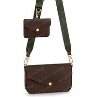 2021 حقيبة crossbody 3in1 متعددة pochette المرأة الصليب الجسم أكياس الكتف حقيقي جلد حقيقي حقيبة يد حقائب الفلشية حزام الذهاب 80091 مع مربع سلسلة محافظ 2 ألوان # fgo-01