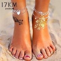 Anklets 17KM Boho Multilayer Silver Color Heart Set For Women Vintage Summer Beach Beads Ankle Bracelet 2021 Trend Jewelry