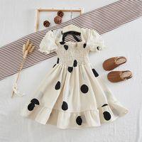Clothing Sets 18M-5Y Toddler Baby Kids Girls Dresses Ruched Dot Print Summer Dress Elastic Band Big Swing Princess Girl Clothes