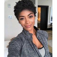 kurze kinky curl weiche brasilianische afroameramerika frisur schwarze perücken simulation menschliches haar frauen afro lockig volle perücke