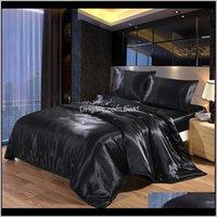Sets Supplies Textiles Home & Garden Drop Delivery 2021 4Pcs Luxury Silk Bedding Satin Queen King Size Set Comforter Quilt Duvet Er Linens Wi