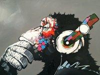Arte abstracto moderno Monkey DJ Auriculares Pintura al óleo sobre lienzo Decoración para el hogar Handcrafts / HD Print Wall Art Foto de personalización es aceptable 21050235
