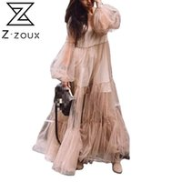Casual Dresses Z-Z-Zoux Frauen Kleid Perspektive Mütze Maxi V-Ausschnitt Puffhülse Lose Große Saum Plus Größe Damen 2021