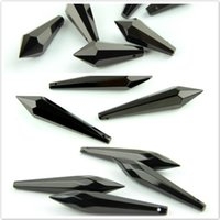 38mm / 63mm / 76mm schwarz K9 Kristall Kronleuchter Anhänger Prismen Cutfaceted Glas U-Eiszapfen Tropfen für Kuchen Topper Dekoration Schärpen