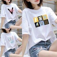 Camiseta Pure Algodão de Manga Curta Mulheres Roupas Simples versão coreana com tops T-shirt em leggings e vestidos de correspondência de verão