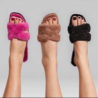 Frauen Pelz Oran Sandalen Schaffelleinheit H Upper Hausschuhe Wollkin Slides Designer Sandale Flache Flip Flops Winter Plüsch Schuhe 328