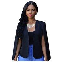 Femmes Cuve's Blazers Fashion Spring Automne Business Slim Long Cap Cape Blazer Manteau Dames Cloak Ol Veste Elegant Outwear (Whit