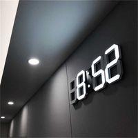 3D LED Wall Clock Modern Design Digital Table Clock Alarm Nightlight Saat reloj de pared Watch For Home Living Room Decoration 210724