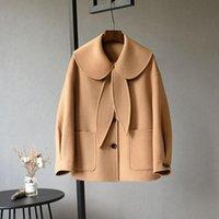 Women's Wool & Blends Fashion Kawaii Cute Big Button Cashmere Coat Women Casual Long Sleeve Doll Collar Straight Autumn Winter Camel Black J