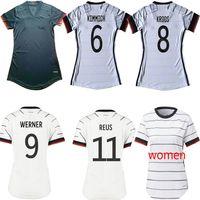 20 21 المرأة كرة القدم الفانيلة hummels كروس مولر الرئيسية قميص أبيض كرة القدم المنتخب الوطني werner boateng قصيرة الأكمام سيدة الزي الرسمي