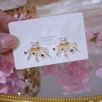 Stud Romantic 14K Real Gold Pearl Flower Earrings For Women Delicate Jewelry Cubic Zircon CZ