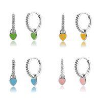 Heart Charm Hoop Earrings Fashion Women Luxury Round Circle Jewelry Studs 925 Sterling Silver Ear Buckle Crystal Rhinestone Huggie GWA8541