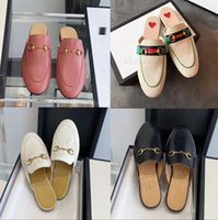 2021 Designer Femmes Été Véritable Princetown Dentelle En Cuir Pantoufles Soft Cowhide Pause Chaussures Paresseuses Mules Lady Flats Métal Plage
