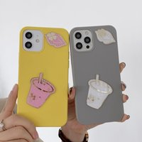 Luxury Fashion Shockproof Mobile Phone Cases for iphone 12 11 Pro Max XR X XS 7 8 Plus anti-fall funny protective Creative transparent cartoon Milk Tea Lip ornament Case