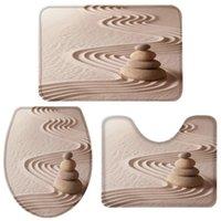 Bath Accessory Set Zen Garden Stones Sand Bathroom Toilet Cover Mat Pedestal Rug Non-Slip Accessories Doormat