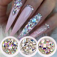1 Box Glitter 3D AB Flat Back Nails Art Tips Decorations Shiny Stones Mixed Size Gems Crystal Manicure DIY Accessories Tools NailArtRhinestones