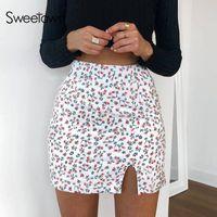 Sweetown Small Flowers Print Cute Skirts Womens Korean Fashion Streetwear Outfits Casual High Waisted Mini Pencil Skirt Summer