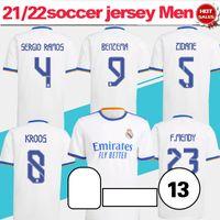Real Madrid Soccer Jersey Home White 21/22 # 9 Benzema # 10 Modric # 8 Kroos Camiseta Shirt 2021/2022 Versión de fans # 4 Alaba # 11 Asensio # 7 Peligro # 20 Vini Jr. Uniformes de fútbol