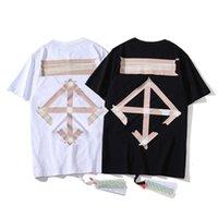 엑스트라 대형 후드 티셔츠 티 티 여름 남성 캐주얼 OFPF 짧은 소매 ow 패션 브랜드 SS 테이프 화살표 인쇄