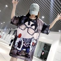 Women's T-Shirt Large Size Summer Korean Cartoon Children Print In The Long Mesh Ice Silk Round Collar Leisure