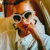Lunettes de soleil carrée surdimensionnées vintage pour femmes 2021 tendance luxe design de luxe femmes dames élégant blanc italie marque lunettes de soleil