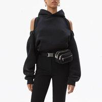 Chicever Черные женские толстые толстовки с капюшоном с капюшоном с капюшоном с длинным рукавом молния без спины с плечом толстовка пружины мода одежда новый 201020