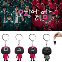 21pcs lot Squid Game Figure Mask Keychain Doll Accessories Squidgame Costume Keychains for Ladies Women Men Kids Key Chain Toys