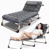 Klappstuhl mit abnehmbarem Kissen für Campingpool Beach Office Nap Bett Lounge Chaise Einstellbare Liegestütze Lagermöbel